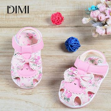 cc924652a6e28 2018 Baby Sandals Newborn Baby Girl Sandals Summer Flower Baby Shoes Anti-Slip  Closed Toe