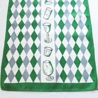 Mid Century Linen Bar Towel Diamonds Green and Gray
