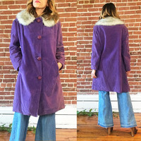 Vintage 1960's LILAC Velour Swing Box Coat With Faux Fur || Purple Lavender Coat || Size Large
