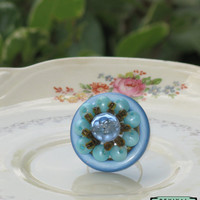 Vintage Button Adjustable Ring Blue Cluster Earring Upcycle Repurpose