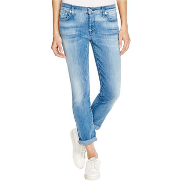 7 For All Mankind Womens Light Wash Classic Boyfriend Jeans