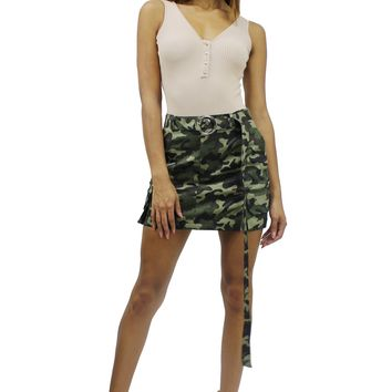 Cargo Side Pocket High Rise Long O-ring Belt A-Line Mini Skirt