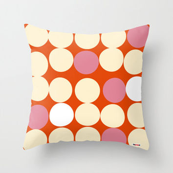 Red, Pink and Cream pillow cover for Modern Decor
