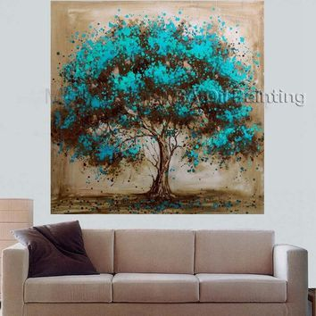 Hand Made Oil Painting On Canvas Tree Red Flower Oil Painting Abstract Modern Canvas Wall Art Living Room Decor Picture/NO FRAME