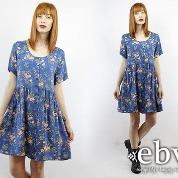Vintage 90s Grunge Blue Floral Mini Dress M L 90s Grunge Dress 90s Floral Dress Babydoll Dress Blue Dress Blue Floral Dress Summer Dress