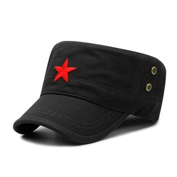 Sports Hat Cap trendy  Fashion Military Cap Red Star Embroidered Flat Hats Army Cap Outdoor Sun Casual Sports Tactical Caps German Cadet Military Caps KO_16_1