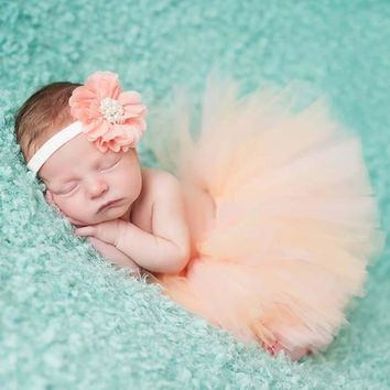 Peach Tutu and Flower Headband