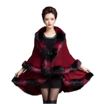 Faux Fur Coat New Winter Luxury Fashion Faux Fox Fur Poncho Long Bat Sleeve Knitted Cardigan Shawl Cape Wool Coat 5 Colors F802