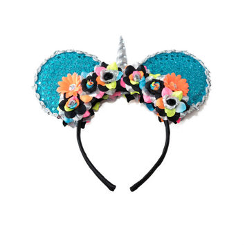 Unicorn Mouse Ears Headband, Unicorn Headband, Flower Mouse Ears, Minnie Ears Headband, Mickey Ears Headband, Neon Headband, Pride Headband
