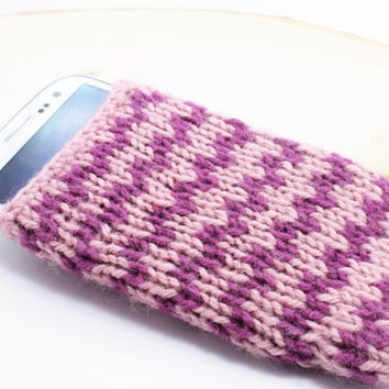Pink Phone Cozy, Knitted Phone Case, Samsung galaxy S3, handmade phone case, gift wrapping