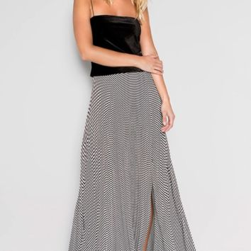 Stripes Out Pleated Maxi Skirt