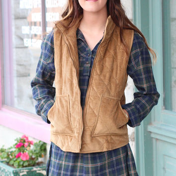 Corduroy Quilted Vest {Camel}