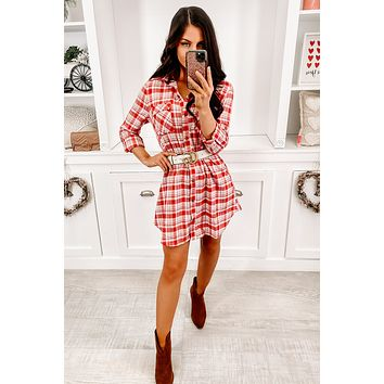 Need Attention Flannel Dress (Red)