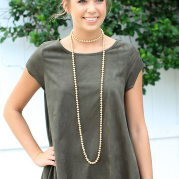 Forever Suede Top - Military Green