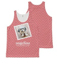 Photo with Chevron Pattern and Custom Name All-Over Print Tank Top