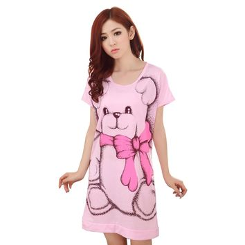 Women's Short Sleeve Loose Nightgowns Girls' Cute Bear Night Dress Skirt