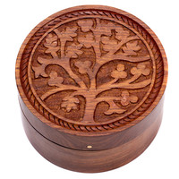 Tree of Life Round Box - India