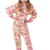 Big Feet Pjs Big Girls Pink Camo Kids Footed Pajamas Onesuit Sleeper