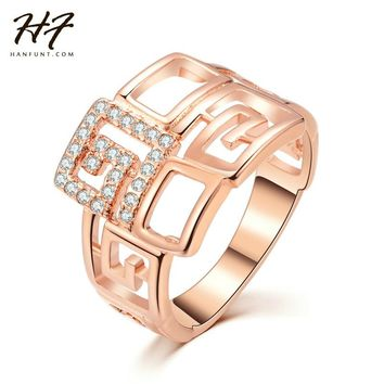 Rose Gold Color with Rhinestones Paved Brand Design Rings Trendy Geometric Wedding & Engagement Finger Ring For Women R597