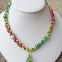 Rasta  Spiral Hemp Necklace with Green  Glass   Pendant and Beads