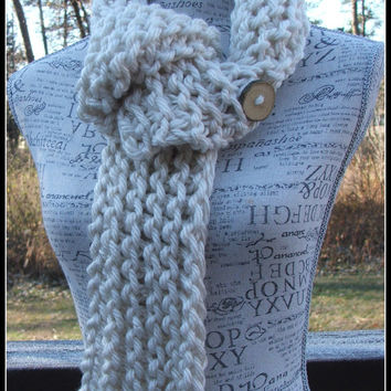 Knit Scarf. Cream scarf. Wood Button. Long Scarf. Infinity Scarf. Scarves. Chunky. Made by Bead Gs on ETSY. Knit scarves. Winter Scarf.