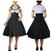 Polka Dot Flared Dress White