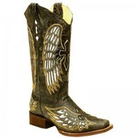 Corral Ladies Black Silver Gold Wing Cross Boot - COWGIRL BOOTS - LADIES