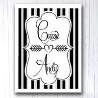 Modern Art Print Wedding gift Custom name Poster print Personalized typography Wall decor Gift for Boyfriend Couples gift Love gift