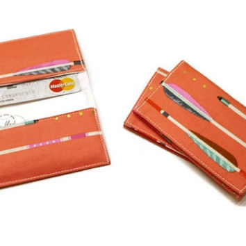 Coral arrows business cards holder, business cards case, minimalist card wallet,  women card wallet. Stocking stuffer.