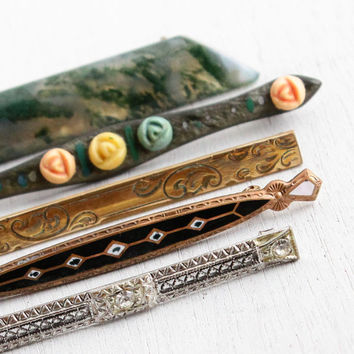 Lot of 5 Antique Victorian, Edwardian, Art Deco Bar Pins - Gold Filled Brooch Jewelry Pins with Rhinestones, Enamel, Gems, Agate