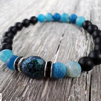 Onyx and blue agate natural gemstone bead stretch bracelets