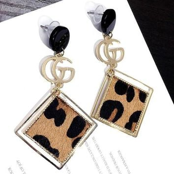 GUCCI Fashionable Women Personality Double G Letter Leopard Grain Square Pendant Earrings Accessories Jewelry