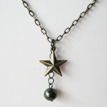 Nautical Star Charm and Pearl Necklace - Black Pearl