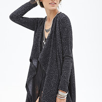 FOREVER 21 Marled Open-Front Cardigan Black
