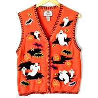 Bright Orange Ghosts and Bats Halloween Tacky Ugly Sweater Vest - The Ugly Sweater Shop