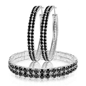 Crystal Double Row Duo - Black Jet Bracelet & Hoop Earring Set with Swarovski Elements