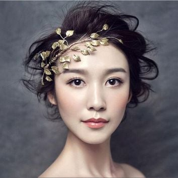 ONETOW Metting Joura Wedding Party Romantic Gold Metal Leaf Headband Hairband Bridal Bride Headband Bridal  Hair Accessories