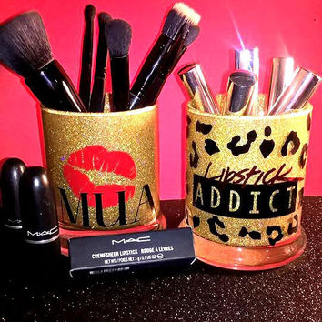 2PC set MUA Lipstick Addict Makeup Brush Holders