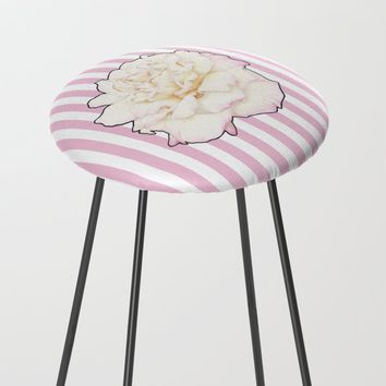 Pale Rose on Stripes Counter Stool by drawingsbylam