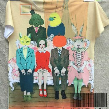 Track Ship+Vintage Retro Cool Rock&Roll Punk T-shirt Top Tee Strange Animal Family Bird Cat Pumpkin Rabbit Teddy Dog 0108