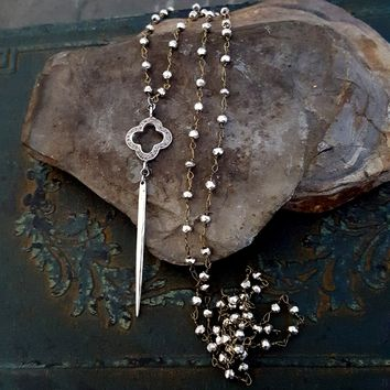 Long Sterling Silver Spike Diamond Clover Pyrite Necklace