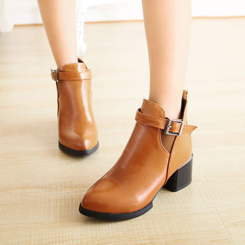 PU Pointy Toe Metal Buckle Middle Block Heel Ankle Boots