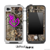 Real Camouflage V4 with Hot Pink Heart Deer Logo 2 Skin for the iPhone 4/4s or 5 LifeProof Case