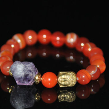 Buddha Bracelet-Amethyst-Beaded Bracelet-Yoga Jewelry-Third Eye Chakra