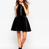ASOS PETITE Velvet Skater Dress with High Neck & Tie Front