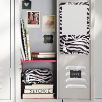 Gear-Up Black Zebra Locker Mirror Pocket