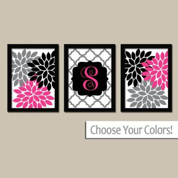 Hot Pink Black Wall Art, Girl Monogram Initial, Flower Monogram Decor, Dorm Decor, Girl Bedroom Wall Decor, CANVAS or Prints, Set of 3