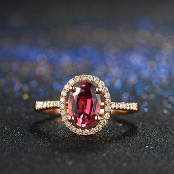 Oval Shape Red Tourmaline Rubellite Halo Diamond Ring in 18k Rose Gold Engagement Wedding Birthday Anniversary Valentine's
