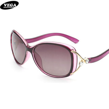 VEGA 2017 Latest Funky Novelty Sunglasses Polarized Good Visor Sunglass Women Best Oval Glasses with Pouch Oculos de sol 9003