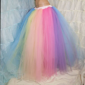 Pastel Rainbow Faerie Formal Alternative Wedding Skirt Fae Adult Medium - MTCoffinz - Ready to Ship